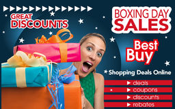 Abstract flyer for shopping on Boxing Day trade Royalty Free Stock Photography