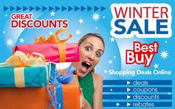 Abstract flyer for shopping on Winter Sale trade Royalty Free Stock Photo