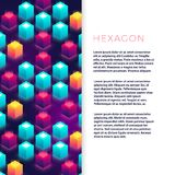 Abstract flyer template with colorful hexagon shapes. Abstract flyer template banner and poster with colorful hexagon shapes. Vector illustration stock illustration