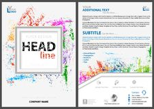 Abstract Flyer Template with Colorful Splatters. And Silver Square Frame and Lines on a White Background - Artistic Design, Vector Illustration stock illustration