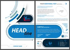 Abstract Flyer Template in Tech Style. With Blue Stripes and Lines on White Background - Colored Illustration, Vector stock illustration