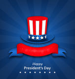 Abstract Flyer with Uncle Sam`s Hat for Happy Presidents Day of Stock Photo