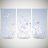 Abstract flyers set, molecular vector design Stock Photography