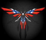 Abstract flying American flag. Abstract 3d flying American flag on black Royalty Free Stock Photos