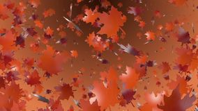 Abstract flying autumn leaves stock video