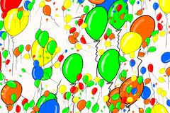 Abstract flying balloons illustrations background. Template, party, surface & design. Abstract flying balloons illustrations background. Also for birthday party Stock Photos