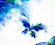 Abstract butterfly with blue and cyan blots stock illustration