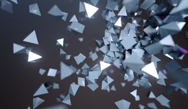Abstract Flying Chaotic Metal Pyramids Royalty Free Stock Images