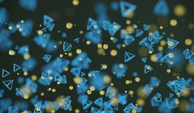 Abstract Flying Chaotic Particle Spheres And Pyramids. 3D Rendering Of Abstract Flying Chaotic Particle Spheres And Pyramids Background Stock Photography