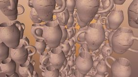 Abstract flying clay pitchers on brown stock video footage