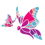 Abstract flying colorful butterflies illustration Stock Photo