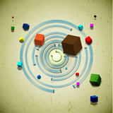 Abstract flying cubes. Over the concentric circles Stock Image