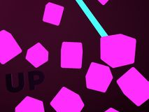 Abstract flying in the dark pink cubes Royalty Free Stock Image