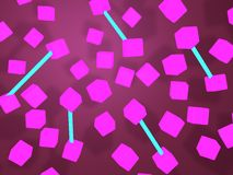 Abstract flying in the dark pink cubes stock image