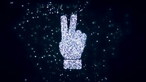 Abstract flying flickering particles turn into a hand sign. 3D rendering. Abstract flying flickering particles turn into a hand sign Royalty Free Stock Photography