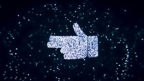 Abstract flying flickering particles turn into a hand sign. 3D rendering. Abstract flying flickering particles turn into a hand sign Royalty Free Stock Photos