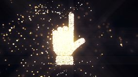 Abstract flying flickering particles turn into a hand sign. 3D rendering. Abstract flying flickering particles turn into a hand sign Stock Images