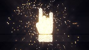Abstract flying flickering particles turn into a hand sign. 3D rendering. Abstract flying flickering particles turn into a hand sign Stock Image