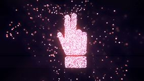 Abstract flying flickering particles turn into a hand sign. 3D rendering. Abstract flying flickering particles turn into a hand sign Royalty Free Stock Images