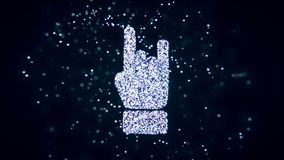 Abstract flying flickering particles turn into a hand sign. 3D rendering. Abstract flying flickering particles turn into a hand sign Stock Photo