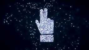 Abstract flying flickering particles turn into a hand sign. 3D rendering. Abstract flying flickering particles turn into a hand sign Stock Photos