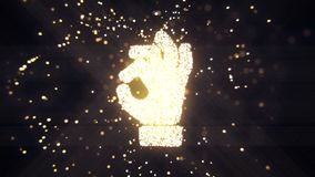 Abstract flying flickering particles turn into a hand sign. 3D rendering. Abstract flying flickering particles turn into a hand sign Stock Photography