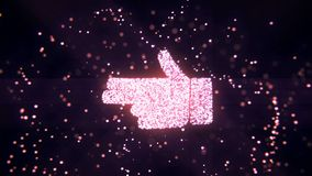 Abstract flying flickering particles turn into a hand sign. 3D rendering. Abstract flying flickering particles turn into a hand sign Royalty Free Stock Photo
