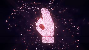 Abstract flying flickering particles turn into a hand sign. 3D rendering. Abstract flying flickering particles turn into a hand sign Royalty Free Stock Image