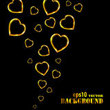 Abstract flying golden hearts on black background Royalty Free Stock Photography