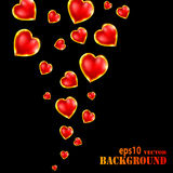 Abstract flying hearts on black background Royalty Free Stock Image