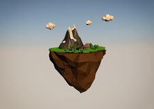 Abstract flying island in the low poly style Stock Images
