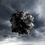Abstract flying object with chaotic surface Royalty Free Stock Photos