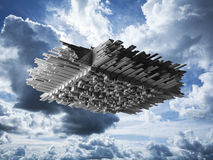 Abstract flying object in cloudy sky Stock Photography