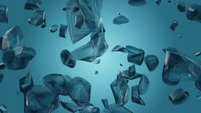 Abstract flying pieces in blue color. In backgrounds stock video