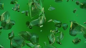 Abstract flying pieces in green color. In backgrounds stock video