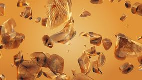 Abstract flying pieces in orange color. In backgrounds stock video footage