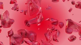 Abstract flying pieces in red color. In backgrounds stock video footage