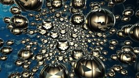 Abstract flying pumpkin heads in black color stock video footage