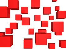 Abstract flying red cubes background. 3d Stock Photography