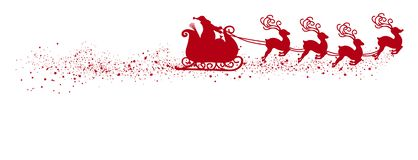 Abstract Flying Santa Claus with Reindeer Sled Vector Illustration Red Shape - Silhouette royalty free illustration