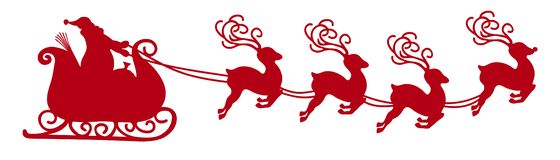 Abstract Flying Santa Claus with Reindeer Sled Vector Illustration Black Shape - Silhouette royalty free illustration