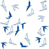 Abstract flying swallow birds on white background Stock Illustration