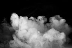 Abstract fog or smoke move on black Stock Images