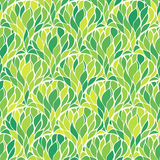 Abstract foliage seamless background. Repeatable decorative ornament with green leaves fishscale layout. Lush pattern. Vector illustration Royalty Free Stock Photos