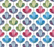 Abstract foliage seamless pattern. Watercolor leaves. Royalty Free Stock Photos