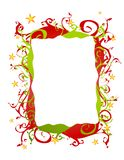 Abstract Folksy Christmas Border or Frame. A clip art illustration featuring a decorative folksy abstract border in red and green with gold stars stock illustration