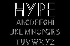 Abstract font and alphabet. Modern, abstract font and alphabet in linear style. Vector illustration royalty free illustration