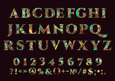 Abstract font, vector set of letters, numbers and punctuation marks of different color patterns on a dark background Stock Images