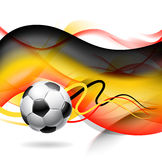 Abstract football background. 3d illustration of football or soccer background with wavy shape in colors of German flag, white background Royalty Free Stock Photos
