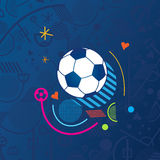 Euro 2016 football. European Championship Soccer 2016.  Abstract football background with soccer ball in blue color. Blue Soccer field. Sport symbols Vector Stock Photo